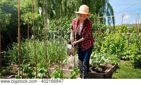 Young Teenage Girl Holding Watering Can And Working In Backyard Garden. Woman Gardening And Growing