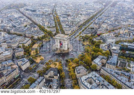 Arc de Triomphe from the sky, Paris