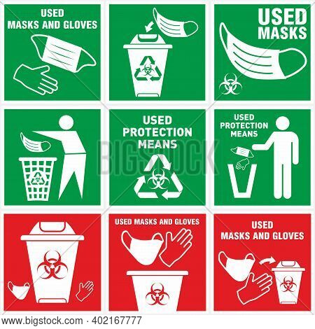 Biohazard Waste Disposal. Bin, With The Symbol Of Infectious Waste. Disposal Of Medical Supplies. Ga