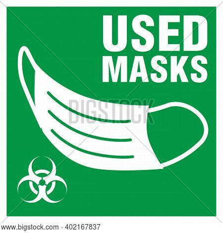Dispose Of Face Masks Here. Correct Disposal Of Medical Supplies. Vertical Poster For A Trash Can, B