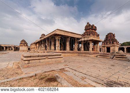 Hampi, Karnataka, India - November 5, 2013: Sri Krishna Temple In Ruins. Central Courtyard Overview