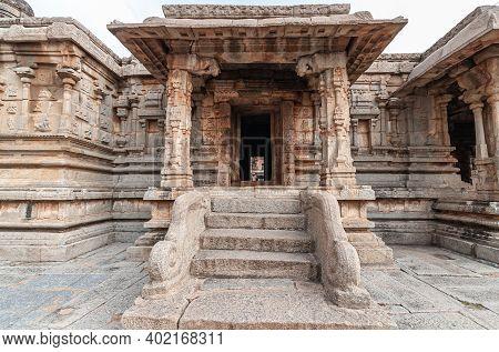 Hampi, Karnataka, India - November 5, 2013: Sri Krishna Temple In Ruins. Brown Stone Steps With Balu