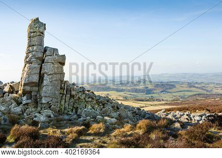 Manstone Rock, A Quartzite Rock Formation On The Summit Of Stiperstones In The Shropshire Hills Area
