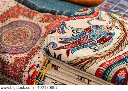 Close Up Of Traditional Turkey Rugs Oriental Craft And Decor Of Interior.