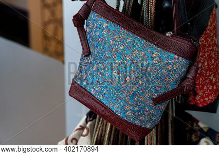 Close Up Of Traditional Turkey Bag Oriental Craft And Decor Of Interior.