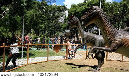 Salvador, Bahia, Brazil - January 6, 2021: People Are Seen During A Visit To The Lagoa Dos Dinossaur