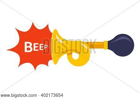The Yellow Horn Makes A Loud Sound. Flat Vector Illustration Isolated On White Background.