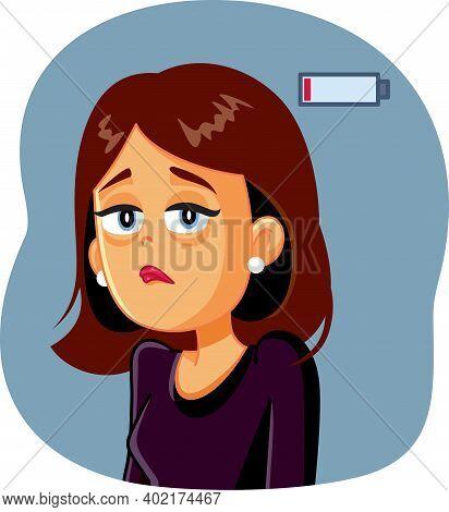 Tired Overworked Woman Feeling Exhausted And Sleepy