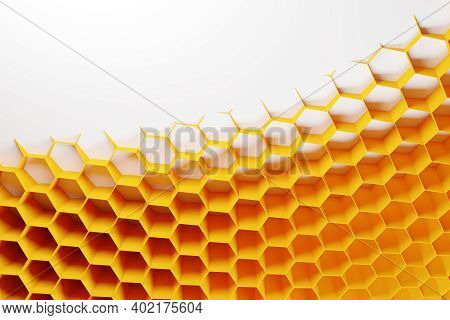 3d Illustration Of A Yellow Honeycomb Monochrome Honeycomb For Honey. Pattern Of Simple Geometric He