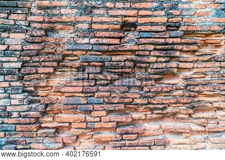 Old Orange Brick Wall For Background, Background With A Red Brick Wall, Brick Old Grunge Stone Wall