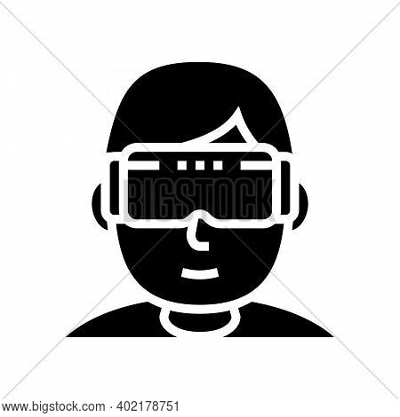 Vr Games Geek Glyph Icon Vector. Vr Games Geek Sign. Isolated Contour Symbol Black Illustration