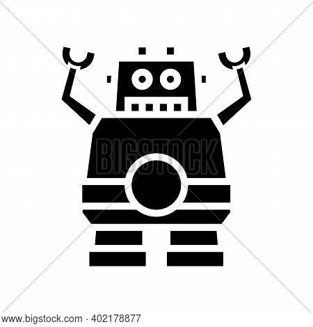 Robotic Geek Glyph Icon Vector. Robotic Geek Sign. Isolated Contour Symbol Black Illustration