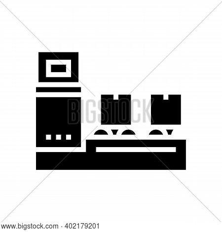 Manufacturing Conveyor Glyph Icon Vector. Manufacturing Conveyor Sign. Isolated Contour Symbol Black