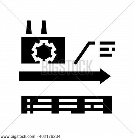 Manufacturing Linear Economy Glyph Icon Vector. Manufacturing Linear Economy Sign. Isolated Contour