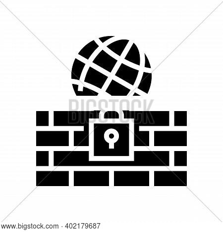 Wall Protection Worldwide Internet Glyph Icon Vector. Wall Protection Worldwide Internet Sign. Isola