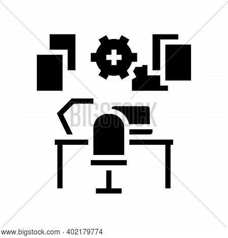 Workplace Organisation Glyph Icon Vector. Workplace Organisation Sign. Isolated Contour Symbol Black