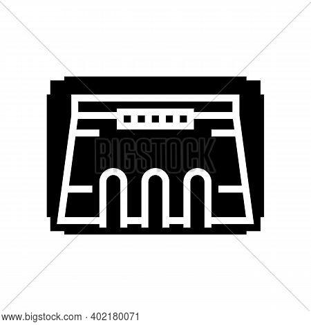 Dam Modeling Glyph Icon Vector. Dam Modeling Sign. Isolated Contour Symbol Black Illustration