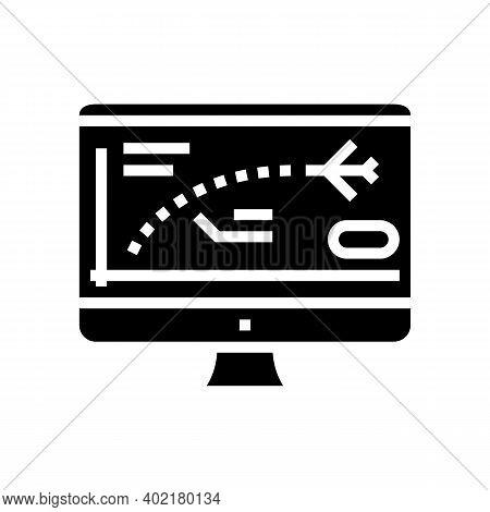 Flight Path Computer Simulator Glyph Icon Vector. Flight Path Computer Simulator Sign. Isolated Cont