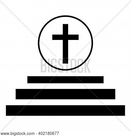 Black Solid Icon For Catholic Jesus Cross Faith Mythology Belief Bible Christ Church Religion Ritual
