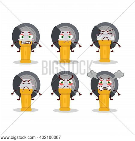 Grinder Cartoon Character With Various Angry Expressions