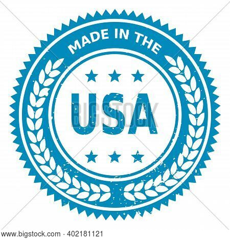 Stamp With Text Made In Usa. Logo American Quality. Seal Flag Usa In Circle. Icon Premium Quality. L