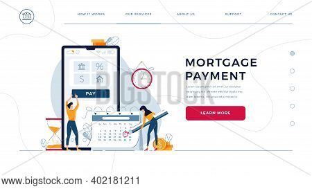 Mortgage Payment Homepage Template. Borrowers Pay Regular Fees Online, Making Notice In Calendar. Ke
