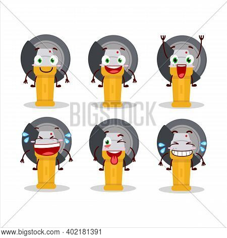 Cartoon Character Of Grinder With Smile Expression