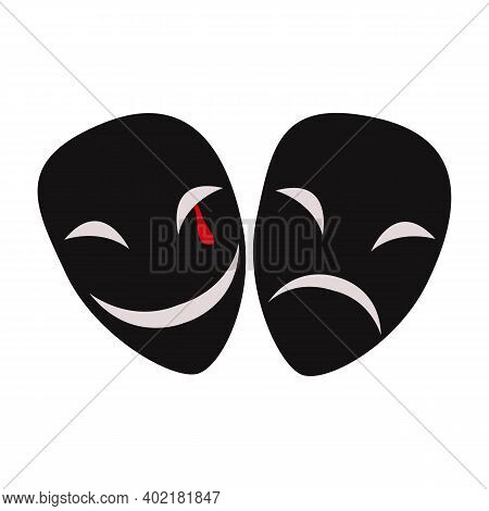 Theater Mask Icon Silhouette. Theater Drama Comedy Icon, Actor Acting Logo