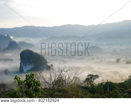 Phu Langka In The Morning Covered With Fog In Phayao Province, Thailand