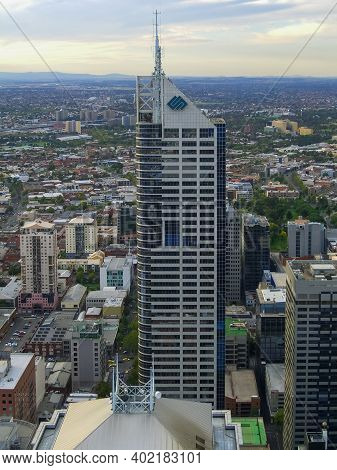 Melbourne, Australia - Mar 18, 2006: Aerial View Of The Central Business District Of Melbourne, Aust