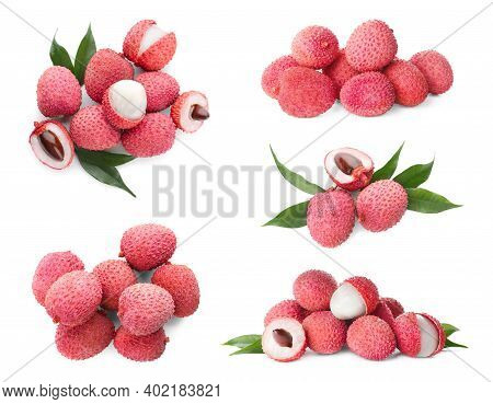 Set Of Delicious Fresh Lychees On White Background