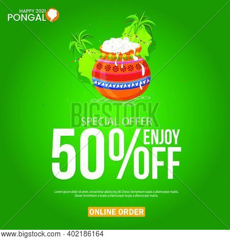 Pongal Festival Best Deal Offer Banner Design With 50% Discount Offer,
