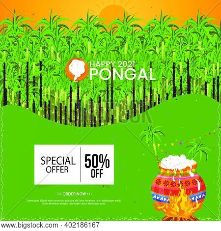 Happy Pongal Celebration With Cane For Traditional Pot And Religious Festival Background.