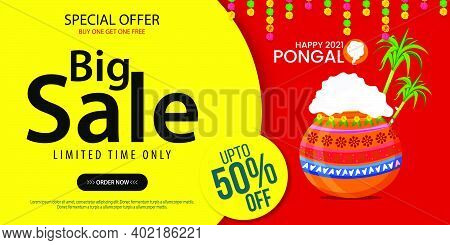 Happy Pongal Festival Offer Sale Background Template Design With 50% Discount