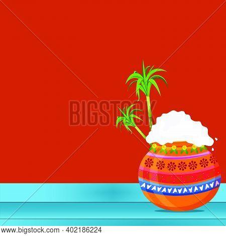 South Indian Festival Pongal Background Template Design Vector Illustration