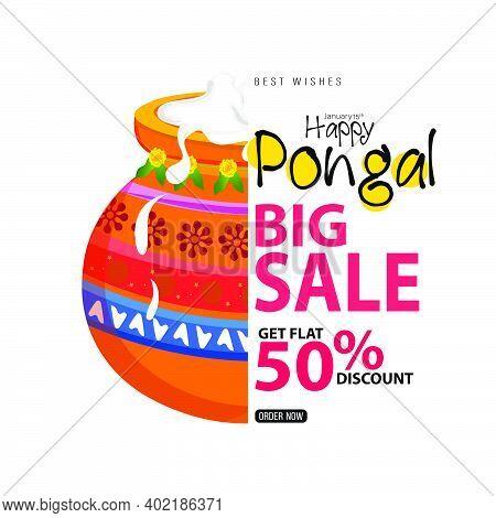 Happy Pongal Festival Sale Template Design - Indian Religion Festival Pongal Background