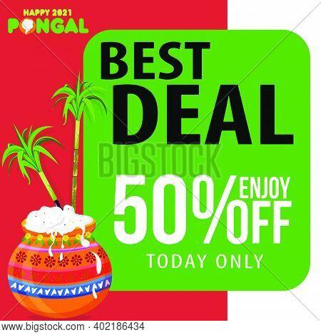Pongal Festival Best Deal Offer Banner Design With 50% Discount Offer, Social Media Post Templates
