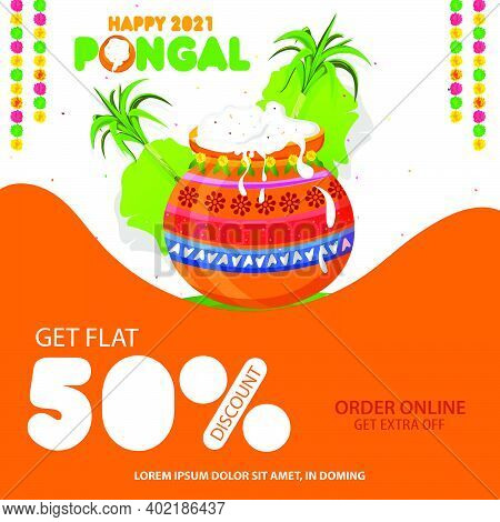 South Indian Festival Pongal Offer, Sale Background Template With 50% Discount Tags