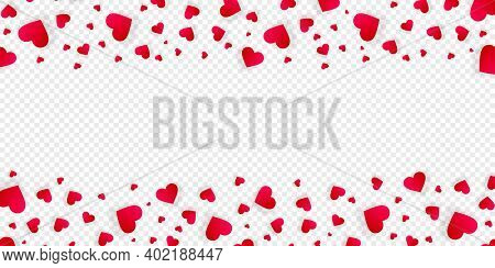 Heart Frame Vector Love Banner Or Border With Red Petals, Hearts Or Confetti. Valentines Day Wedding