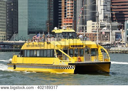 New York City - August 27: Ny Water Taxi On The Hudson River On August 27, 2017 In New York City, Ny