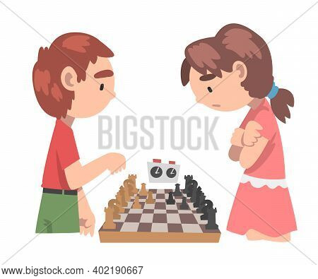 Cute Boy And Girl Competing In Chess, Chess Club, Tournament, Logic Game For Brain Development Conce