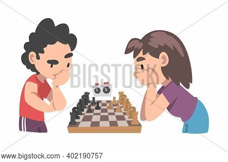 Ywo Boys Playing Chess Game At Chess Club Or Tournament, Logic Game For Brain Development Cartoon St
