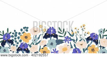 Gorgeous Floral Backdrop With Border Of Blooming Flowers And Leaves. Design Of Horizontal Banner Wit