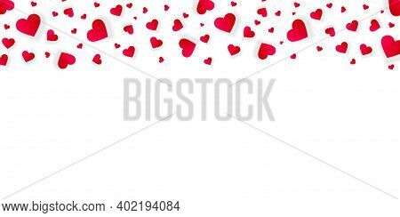 Heart Frame Valentine Day Vector Border, Love Banner Template With Falling Red Scatter Confetti Peta