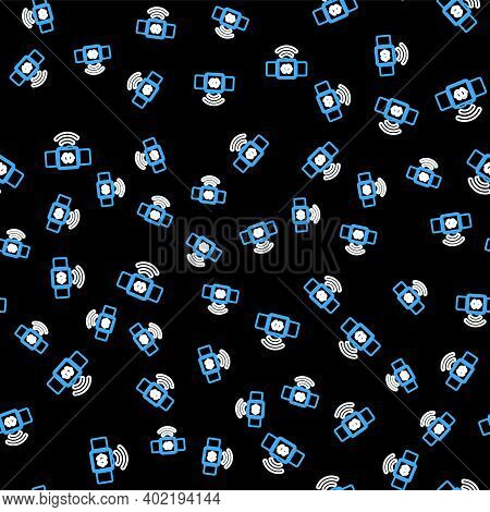 Line Contactless Payment Icon Isolated Seamless Pattern On Black Background. Smartwatch With Nfc Tec
