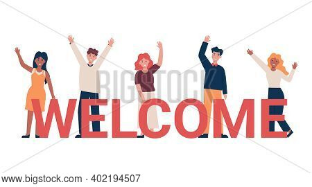 Set Of Different Nationality People Greeting Gesture, Waving Hand. Concept New Team Member. Flat Vec