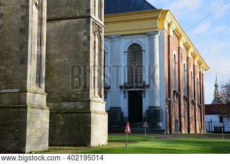 Close-up On The Sint Lievensmonstertoren (saint Lievens Monster Church Tower) And Nieuwe Kerk Church