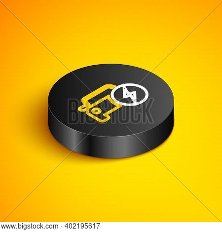 Isometric Line Electric Car And Electrical Cable Plug Charging Icon Isolated On Yellow Background. R
