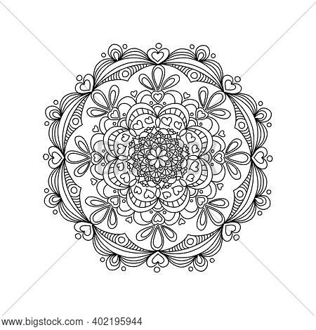 Mandala With Hearts For Romantic Date And Valentine Day. Design For Coloring Book Page For Adults An