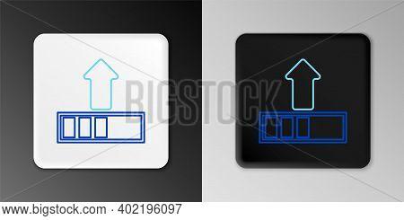 Line Loading Icon Isolated On Grey Background. Upload In Progress. Progress Bar Icon. Colorful Outli